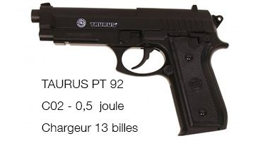 Airsoft Taurus PT92 C02 0,5 Joules ABS