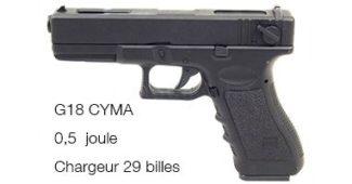 Pistolet à billes Réplique G18 Cyma AEP électrique 0,5 Joules