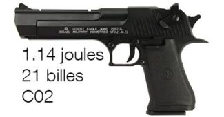 Pistolet à billes Desert Eagle 50AE Co2 1 .14 joules Blowback Semi-auto