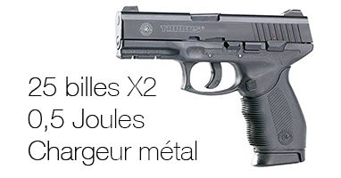 Pistolet à billes Airsoft Taurus Pt 24 /7 - Chargeur métal 25 billes X 2