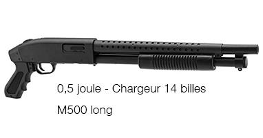 Réplique fusil à pompe à billes M500 Long