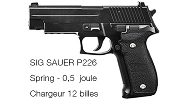 SIG SAUER P226 Airsoft Spring Full Métal 0,5 Joules - Galaxy
