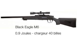 Sniper à billes M6 Black Eagle 0,9 Joules de Swiss Arms